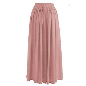 Pink Long Chiffon Skirt